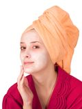 Young girl, making cosmetic mask Royalty Free Stock Image