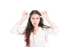 Young girl making funny face Stock Images