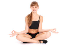 Young girl making yoga exercises Royalty Free Stock Image