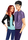 Young girl and man. Colorful illustration of young trendly people Stock Photography
