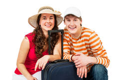 Young girl and man with suitcases Royalty Free Stock Image