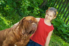 Young girl and mastiff Royalty Free Stock Images