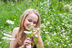 Young girl in a meadow with camomiles. Beautiful young girl in a meadow with camomiles Stock Image