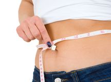 Young girl measuring waist Royalty Free Stock Image