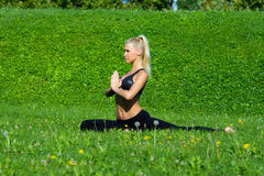 Young girl meditate in yoga position Royalty Free Stock Photo