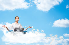 Meditation in the clouds Royalty Free Stock Photos
