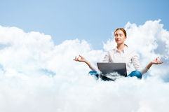 Meditation in the clouds Royalty Free Stock Photography