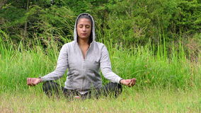 Young Girl Meditation in Nature on Grass Concept stock footage