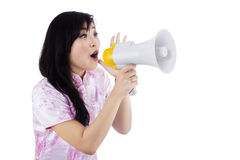 A young girl with megaphone Royalty Free Stock Photos