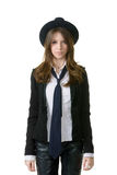 Young girl in a men's clothing Stock Photo