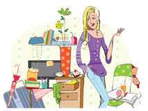 Young girl in a messy room royalty free illustration
