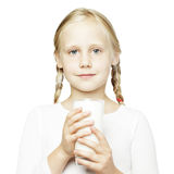 Young girl and milk glass, healthy eating Stock Images