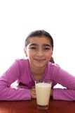 Young girl with milk Royalty Free Stock Photos