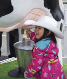 Young Girl Milking a Cow. A young girl enjoys herself at one of the interactive exhibits at a community event to promote the 100th anniversary of the Calgary Royalty Free Stock Photos