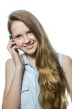 A young girl with mobil, teenager. A young girl with blue mobil Stock Image