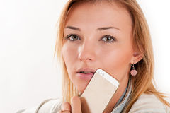 Young girl with mobile phone Royalty Free Stock Photo