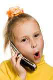Young girl with a mobile phone oh surprise Stock Photos