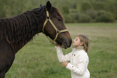 Young girl model wrenched his face to horse. Lifestyle portrait Stock Photography