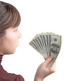 Young girl with money Royalty Free Stock Image