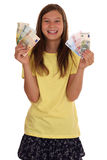 Young girl with money banknotes Stock Photos