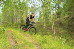 Young girl on mountainbike in the forest. Teenager girl going down a trail with mountainbike Royalty Free Stock Photos
