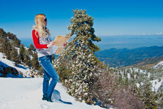 Young girl in the mountains Royalty Free Stock Photography