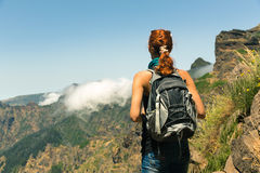 Young girl in mountains Royalty Free Stock Images