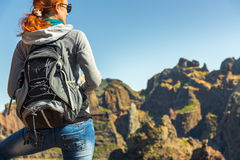Young girl in mountains Stock Image