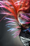 Young girl movement colour hair magnificent Royalty Free Stock Images