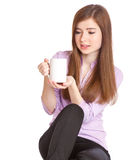Young girl with mug with coffee Royalty Free Stock Images