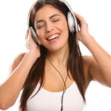 Young girl music lover singing and listening Royalty Free Stock Image