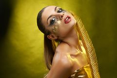 A beatiful girl with fantastic make-up royalty free stock photos