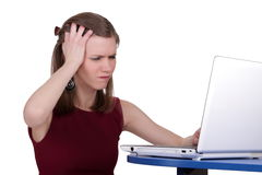 Young girl is nervous with computer Stock Photo