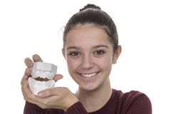 Young girl with a new smile Stock Photo