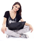 Young girl with notebook. royalty free stock photography