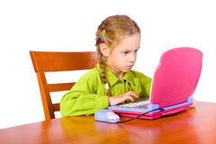 Young girl with notebook. Sitting young girl with notebook Stock Photos