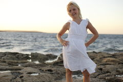 Young girl on ocean Stock Photo