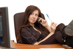 Young girl at office stock image