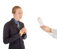 Young girl in office clothes talking on the phone Stock Photos