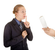 Young girl in office clothes talking on the phone Stock Photo