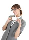 Young girl in office clouses Stock Image