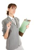 Young girl in office clouses. Young girl in a gray business suit on white background Stock Photos