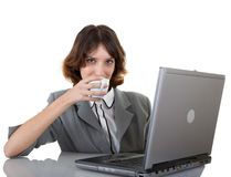 Young girl in office clouses Royalty Free Stock Image