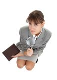 Young girl in office clouses Stock Photos