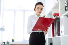 Young girl in the office near the rack and scrolls through the folder with the documents. Beautiful young girl in a white blouse and black skirt. Girl with dark Stock Image
