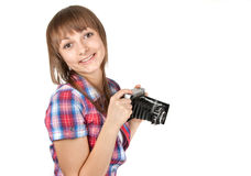 Young girl with old analog photo by camera Royalty Free Stock Photos