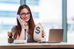 The young girl in online business concept Royalty Free Stock Photography