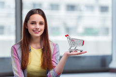 The young girl in online shopping concept Stock Photos