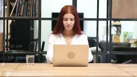 Young Girl Opening, Working and Closing Laptop stock footage