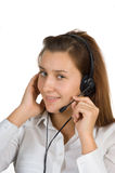 Young girl Operator call center Royalty Free Stock Photos